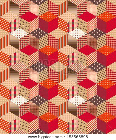 Bright seamless patchwork pattern in warm autumn colors. Multicolor vector illustration.