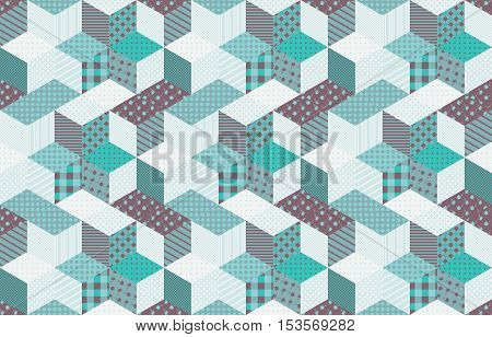 Winter seamless patchwork pattern with stars. Vector background. Quilting in aquamarine tones.