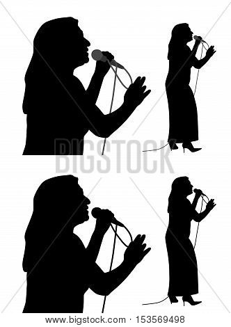 Silhouette of a senior female singer. Isolated white background. EPS file available.