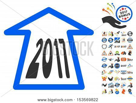 2017 Ahead Arrow icon with bonus 2017 new year pictograms. Vector illustration style is flat iconic symbols, modern colors.