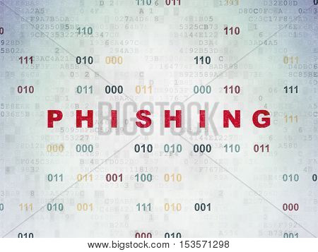 Safety concept: Painted red text Phishing on Digital Data Paper background with Binary Code