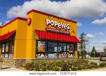 Anderson - Circa October 2016: Popeyes Louisiana Kitchen Fast Food Restaurant. Popeyes is known for its Cajun Style Fried Chicken III