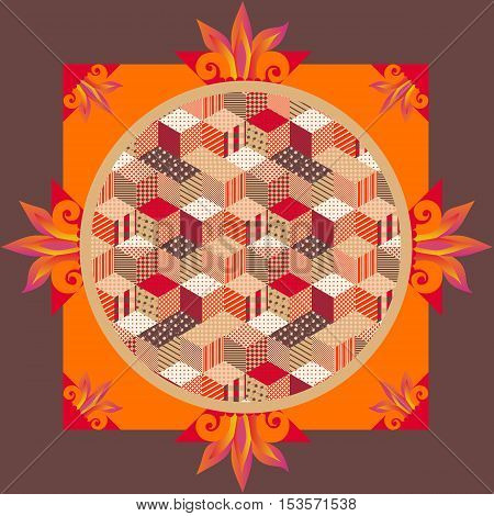 Lovely tablecloth or beautiful pillowcase with patchwork ornament. Vector illustration. Packaging design.