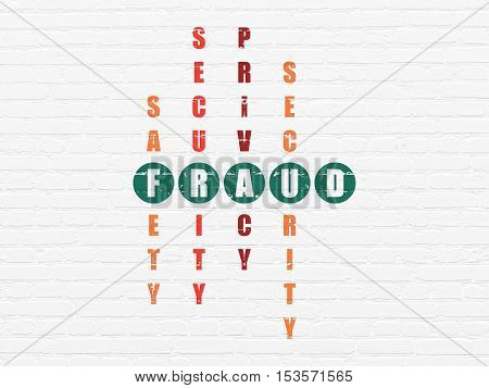 Privacy concept: Painted green word Fraud in solving Crossword Puzzle