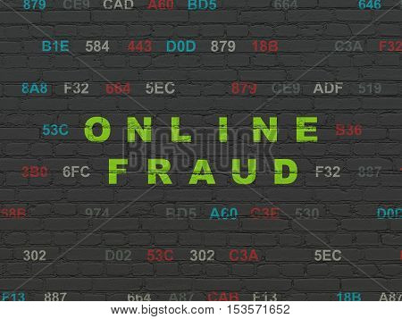 Protection concept: Painted green text Online Fraud on Black Brick wall background with Hexadecimal Code
