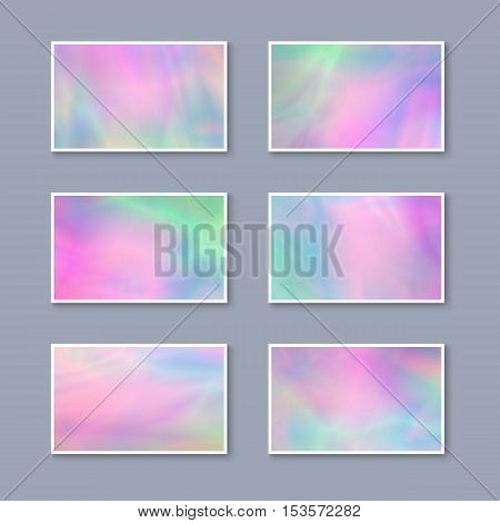 Set of Pastel Colorful Business Cards. Templates for Gift Cards / Invitations / Postcards with Realistic Holographic Effect. Abstract Universal Design Elements. Unique Iridescent Blanks.