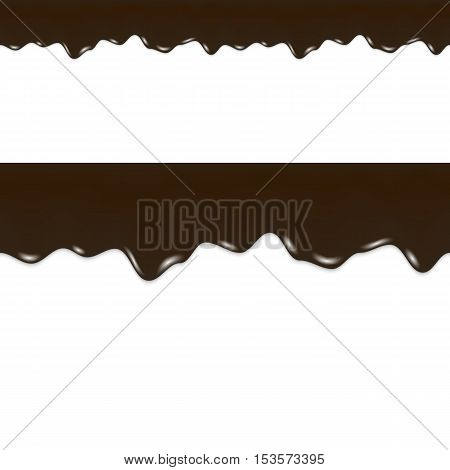 Oil Drips. Black Liquid Crude. Seamless Border. Vector