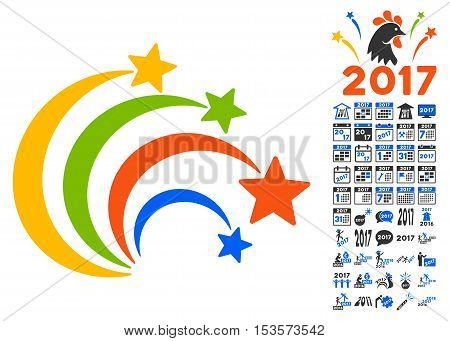 Festival Fireworks pictograph with bonus 2017 new year clip art. Vector illustration style is flat iconic symbols, modern colors.