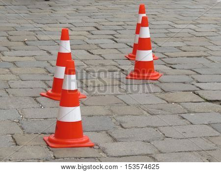 Traffic cones aka construction cones witch's hat pylons road cones highway cones safety cones