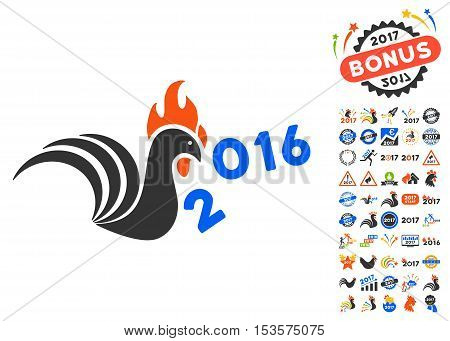 Rooster Banish 2016 Year icon with bonus 2017 new year icon set. Vector illustration style is flat iconic symbols, modern colors.
