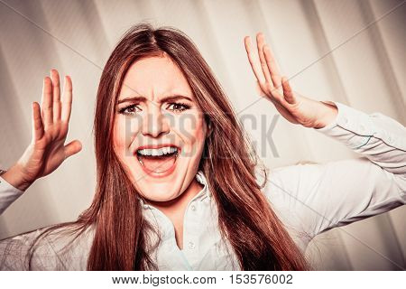 Angry Young Woman Shout.
