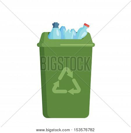 Trash bin garbage container and trash bin recycle symbol vector.  Full trash bin