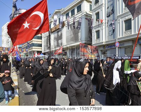 Istanbul Turkey - October 11 2016: Turkish Shia women takes part in an Ashura parade in Istanbul's district of Kucukcekmece. Turkish Shia Muslims mourning for Imam Hussain. Caferis take part in a mourning procession marking the day of Ashura in Istanbul's