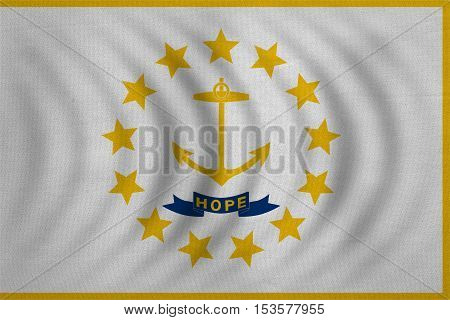 Flag of the US state of Rhode Island. American patriotic element. USA banner. United States of America symbol. Rhode Islander official flag wavy real fabric texture illustration. Accurate size color