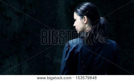 Portrait of female. Horror scene of a scary woman