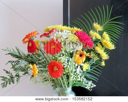 Bouquet of flowers on a black and white background in Thornhill Canada October 23 2016