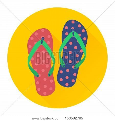 Flat flip flop icon. Colourful veclor illustration of flip flops on yellow background with long shadow