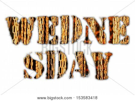 Wednesday word from grunge letters with nature landscape inside on white background. Raster illustration