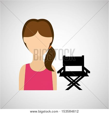 woman character chair director film design vector illustration