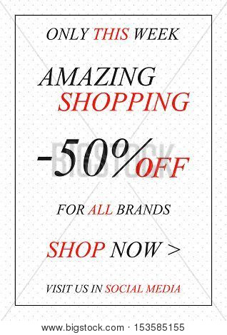 Vector promotional Amazing Shopping banner for online stores websites retail posters social media ads. Creative banner layout for m-commerce promotions sale materials coupons advertising.