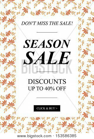 Vector Season Sale Up To 40 pecent off banner with leaves for online stores websites retail posters social media ads. Creative banner layout for m-commerce coupons advertising.