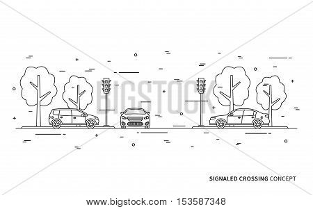 Traffic lights at the crossroad vector illustration. Light signals with cars line art concept. Traffic controller graphic design.