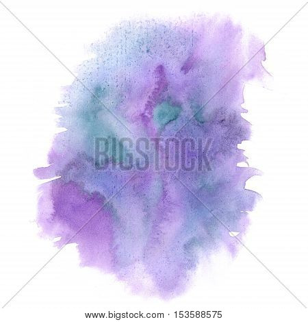 watercolor abstract splash. watercolor drop isolated blue purple blot for your design