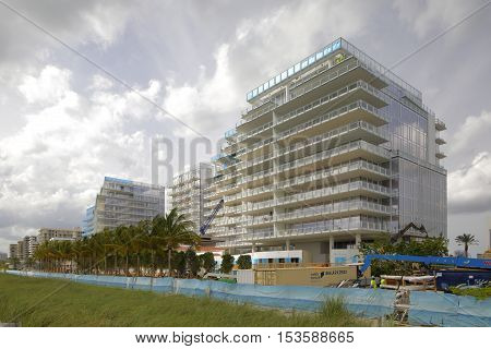 OCTOBER 26: Image of the The Surf Club Four Seasons hotel and residences located at 90th Street and Collins Avenue set for 2017 completion October 26, 2016 in Surfside FL, USA