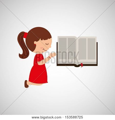 cute girl blessed bible graphic vector illustration