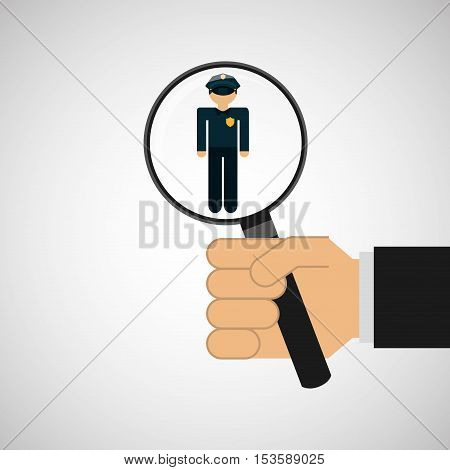 human resources searching police man graphic vector illustration eps 10
