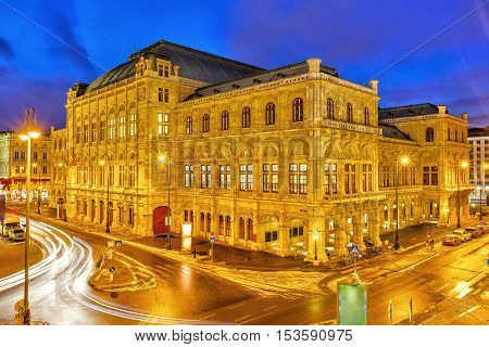 Vienna's State Opera House at night, Austria