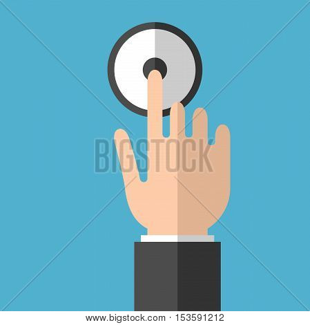 Businessman hand ringing in service bell on blue background. Hospitality assistance and service concept. Flat design. Vector illustration. EPS 8 no transparency