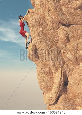 Young women in red dress and high heels climbing a mountain. This is a 3d render illustration