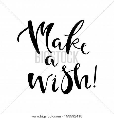 Happy New Year vector illustration. Isolated hand written lettering Make a wish. Design element for greeting card.