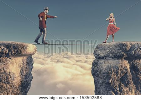 Young man goes to a beautiful woman balacing on a rope between two rocks. This is a 3d render illustration