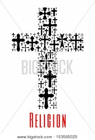 Christianity cross icon. Artistic vector isolated religion symbol of crucifix elements. Religious decoration emblem, design element for religious holidays, events