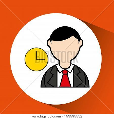 avatar man with suit and time clock graphic vector illustration eps 10