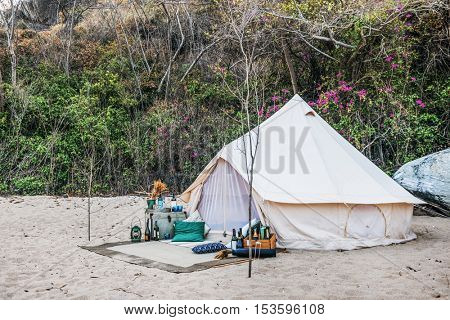 Camping Beach Side Party Concept