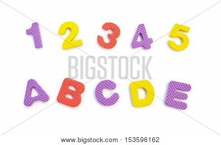letters of 12345 and ABCDE made by alphabet jigsaw puzzle on white