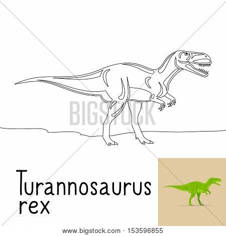 Coloring page for kids with Turannosaurus rex dinosaur and colored preview. Vector ilustration