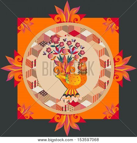 Lovely tablecloth. Greeting card. Beautiful pillowcase with gold fairy rooster and patchwork ornament. Vector illustration. Packaging design.