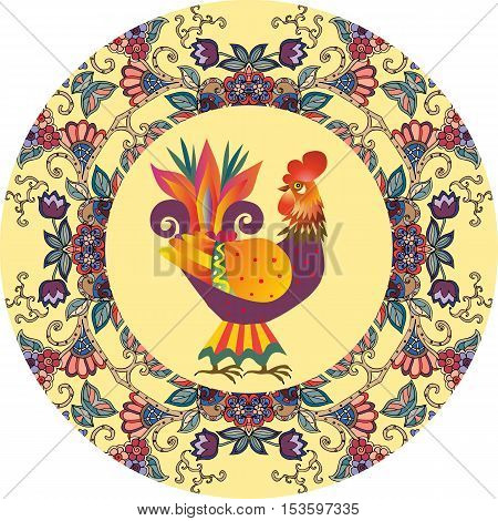 Packaging design. Decorative plate with beautiful floral ornament and cute cartoon rooster - chinese symbol of 2017. Year of the Cock.
