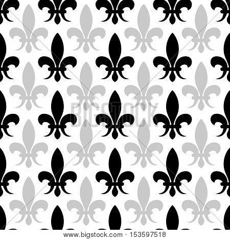 Vector fleur de lis seamless pattern in black and white color. Floral background illustration