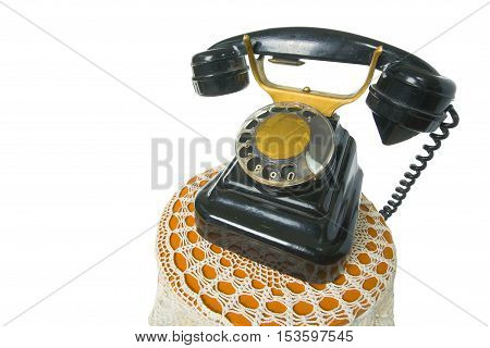 Old Antique Vintage Traditional Black Phone With Disc Dials The 19Th Century Isolated On White Backg