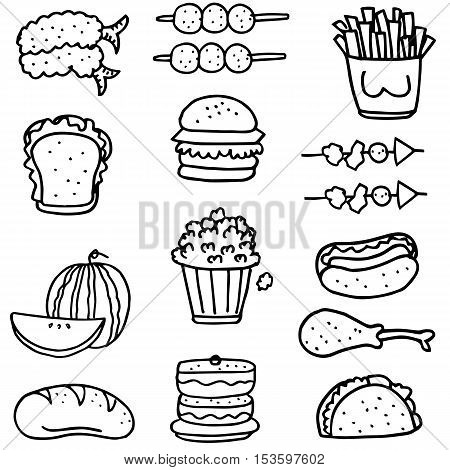 Doodle of food set collection stock vector art