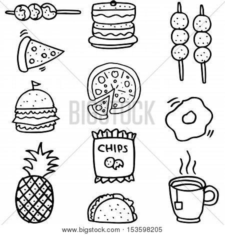 Doodle of food set element stock vector art