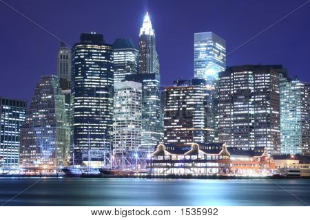 Lower Manhattan skyline At Night Lights NYC poster