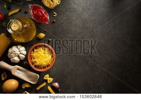 food ingredient and spices on dark background
