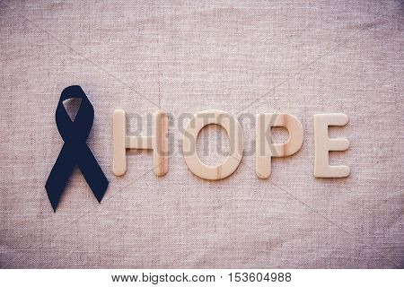 Hope Word With Black Ribbon, For Skin Cancer Awareness, Melanoma Awareness,narcolepsy Awareness And
