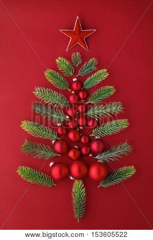 Christmas tree,fir banch and balls